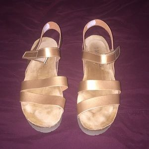 NAOT Krista Strappy Wedge Sandal - Gold